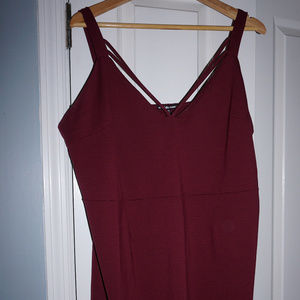 Maroon Fitted Tank Dress